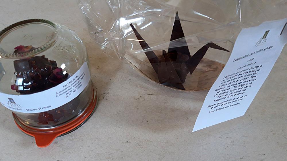 Mandarine, chocolat et baies roses et Grue au chocolat