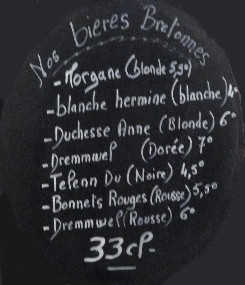 Les bières bretonnes (dommage qu'il ny ait pas les prix !)