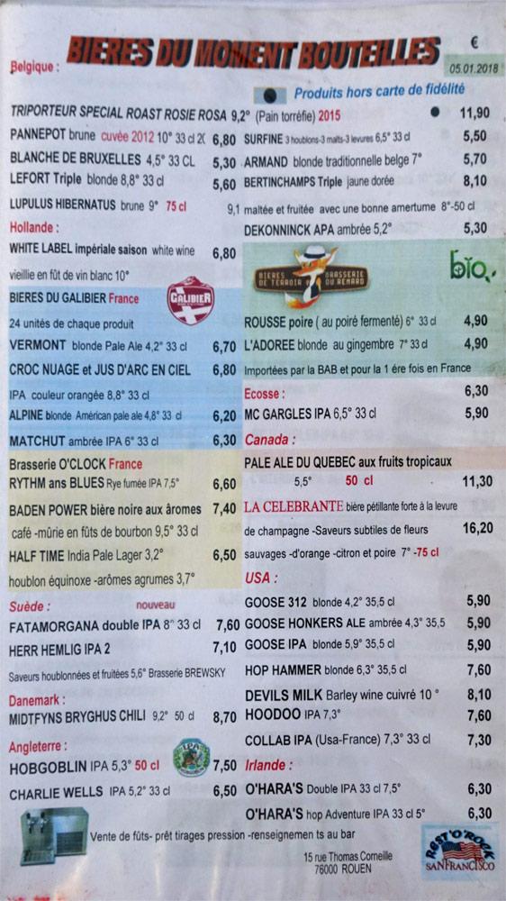 Les bières bouteilles disponibles