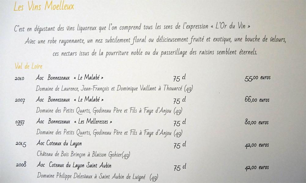 Vins moelleux du Val de Loire