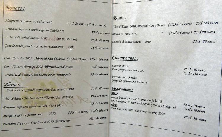 La carte des vins en 2 pages