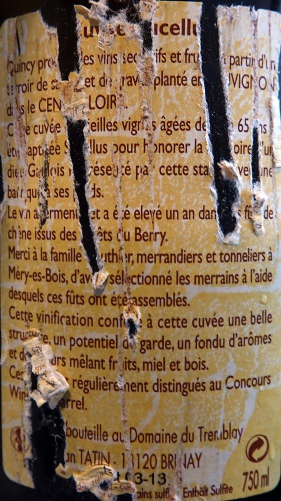 """Quincy 2013 """"Cuvée Sucellus"""" de Jean Tatin (verso)"""