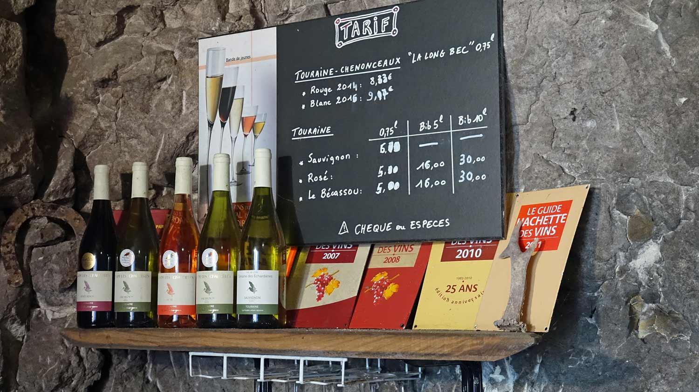 Les vins disponibles et leur tarif