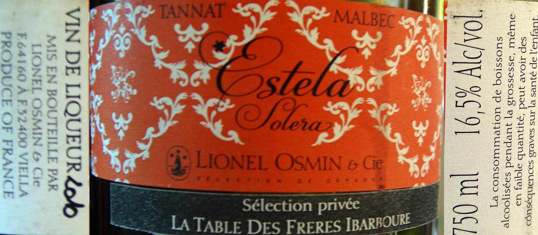 """Vin de liqueur """"Tannat/Malbec """"Estela Solera"""" de Lionel Osmin"""