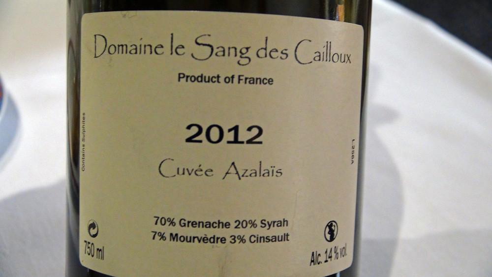"""Vacqueyras """"Le Sang des Cailloux"""" 2012 """"Azalaïs"""" de Serge Férigoule"""