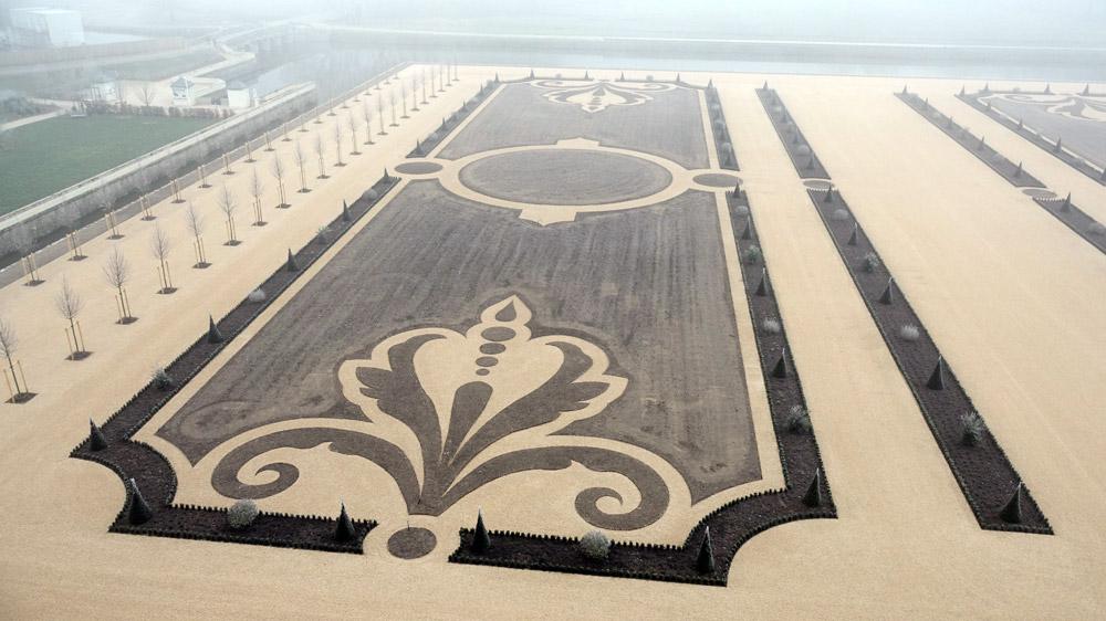 Les jardins à la française en travaux vus depuis les terrasses