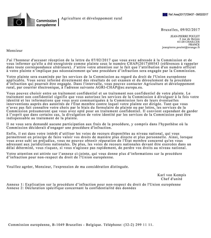 Première réponse de Bruxelles