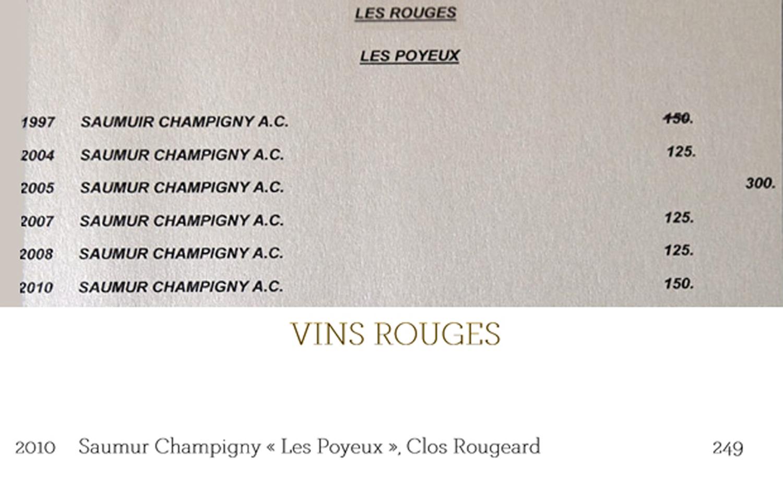 """Saumur-Champigny 2010 """"Les Rougeards"""" : 150 € 00 à la Maison Dallais, 249 € à la Maison ... un peu plus loin, en Loir et Cher"""