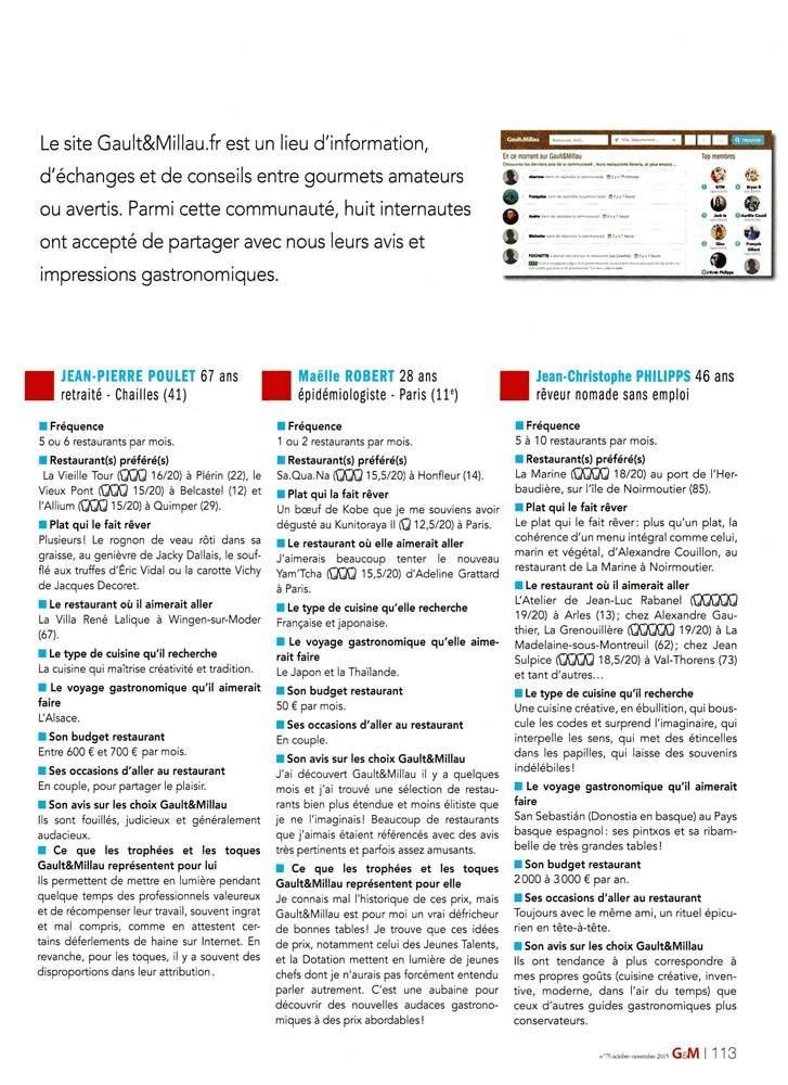 Page 113 du Gault & Millau N° 75 d'octobre-novembre 2015