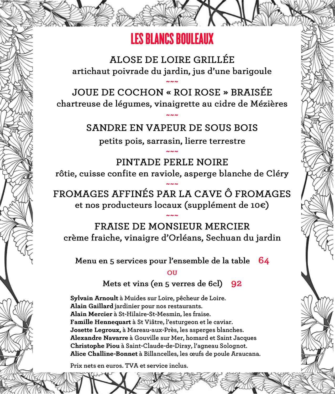 """Notre menu """"Les blancs bouleaux"""""""