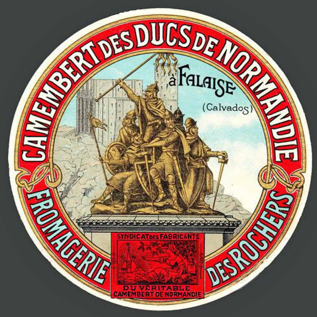 Étiquette ancienne du Véritable Camembert de Normandie. © www.camembert-museum.com