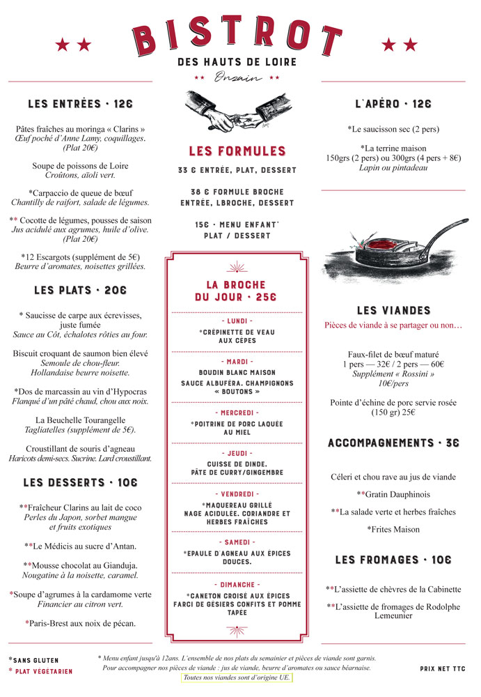 La carte et le menu à 33 € 00