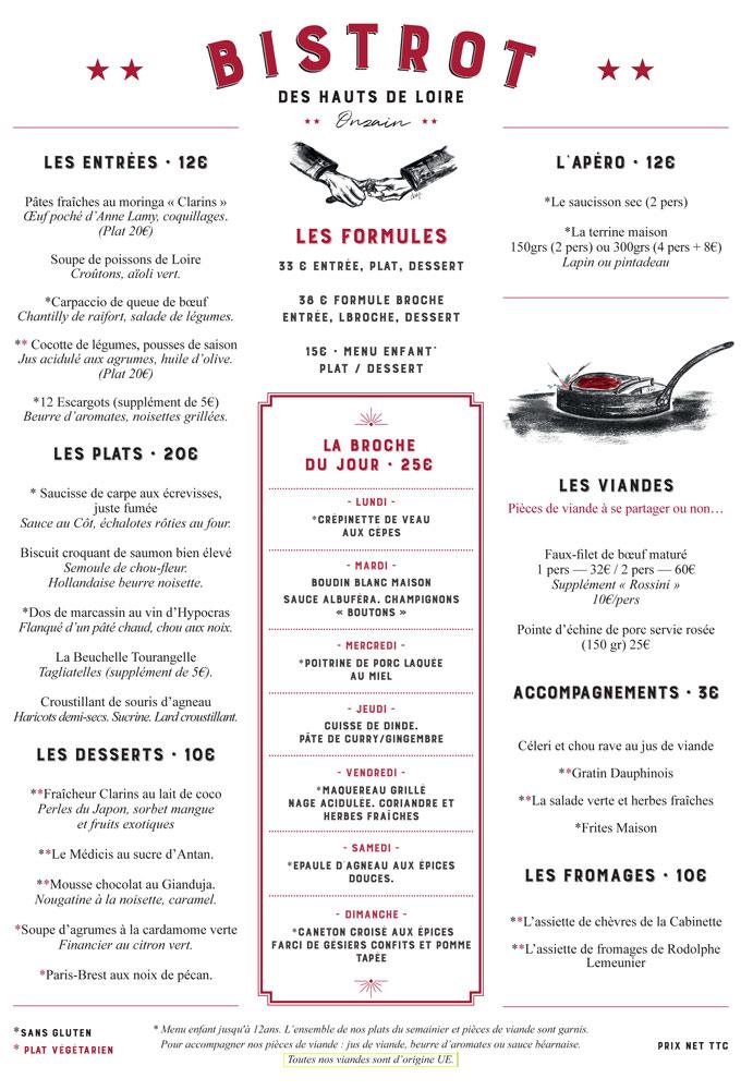 La carte et le menu à 33 € 00