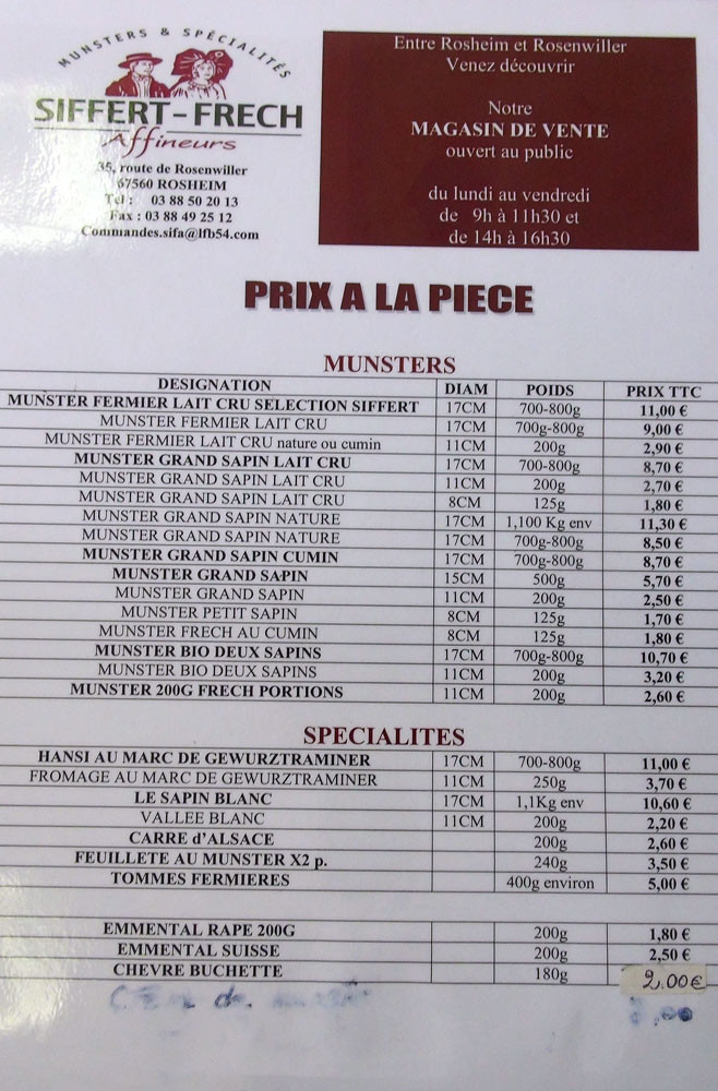 La grille tarifaire où il manque le prix des fromages à la portion