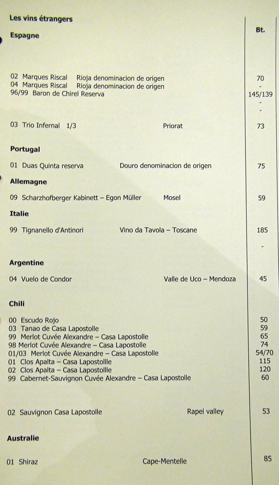 Extrait de la carte des vins