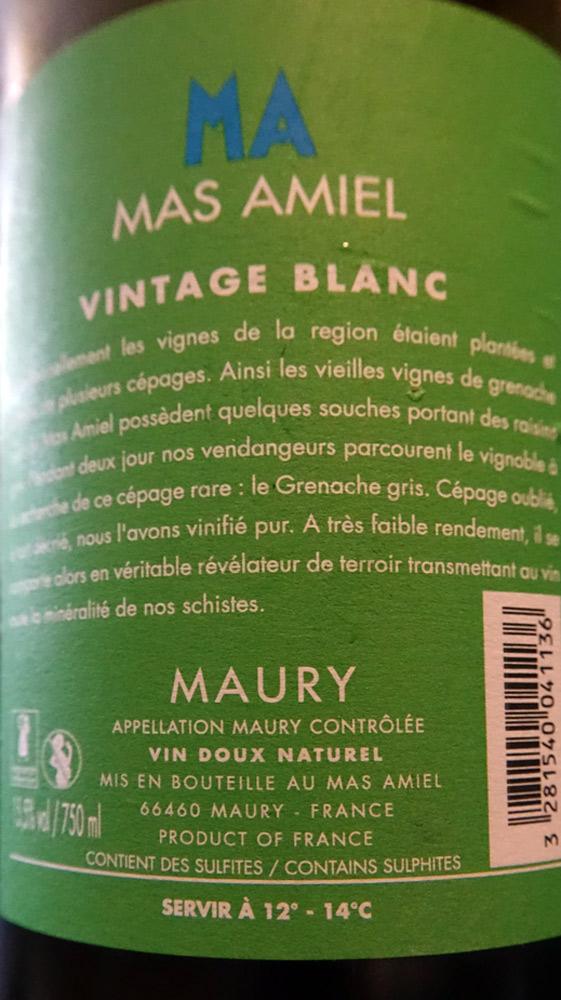 Maury 2013 vintage blanc du Mas Amiel