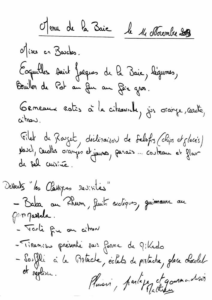 Le menu recopié par Sophie Aumont