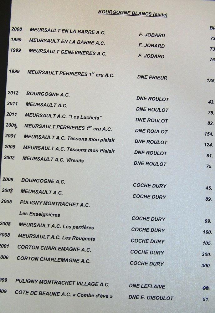 """Carte des vins """"Coche-Dury"""" de Jacky Dallais"""