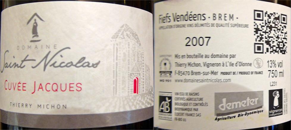Fiefs vendéens Brem Cuvée Jacques 2007 deThierry Michon
