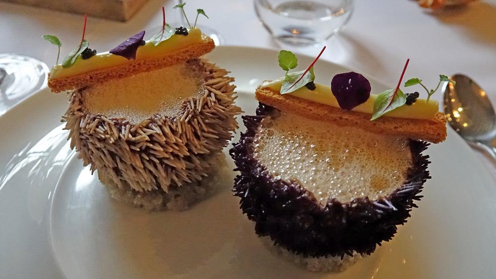 Oursins de Bretagne | crème de fenouil | tartare de Saint Jacques | émulsion d'oursin | caviar de Sologne