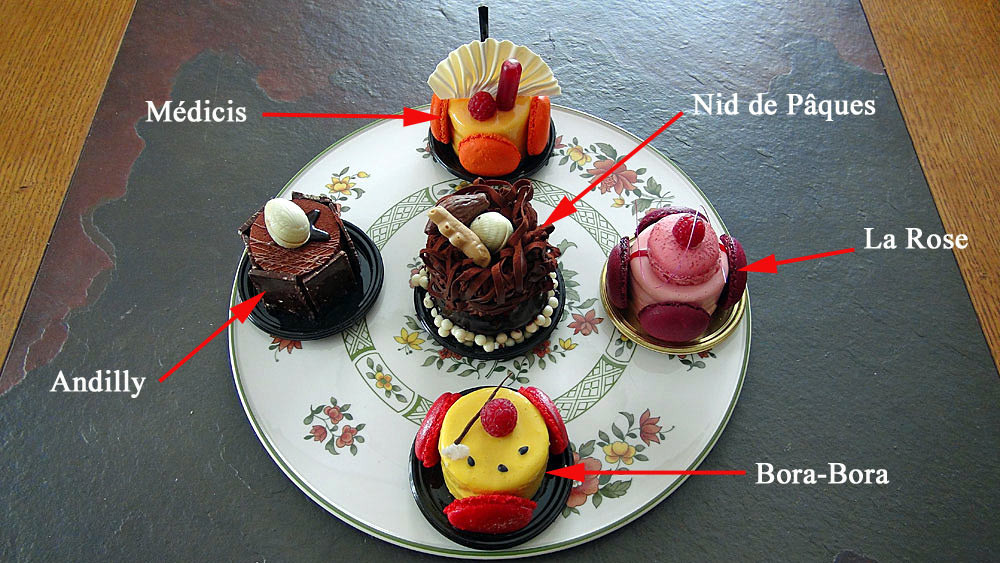 Les gâteaux choisis : Andilly - Médicis - Nid de Pâques - La Rose - Bora Bora