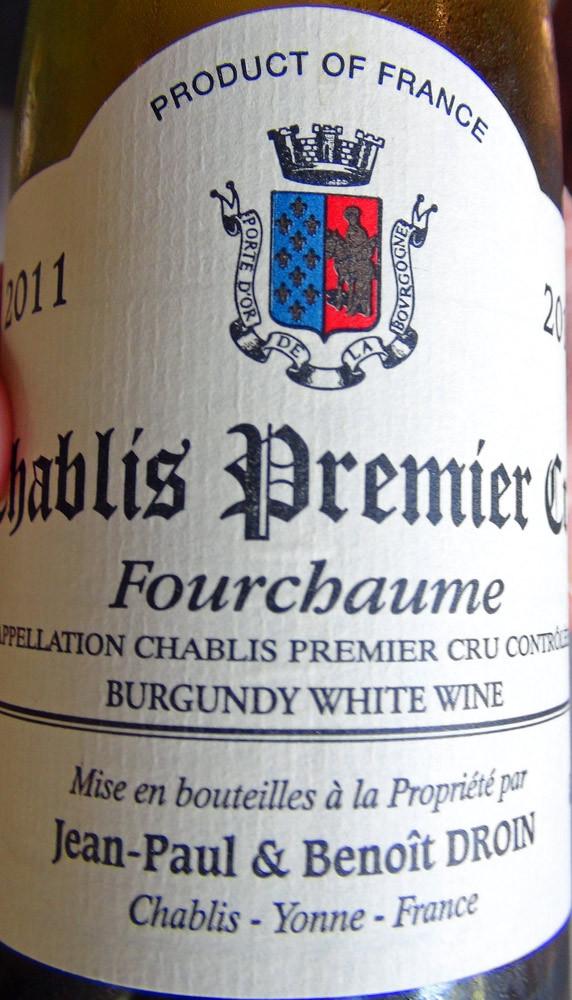 """Chablis 2010 """"Fourchaume"""" de chez Benoit Droin"""