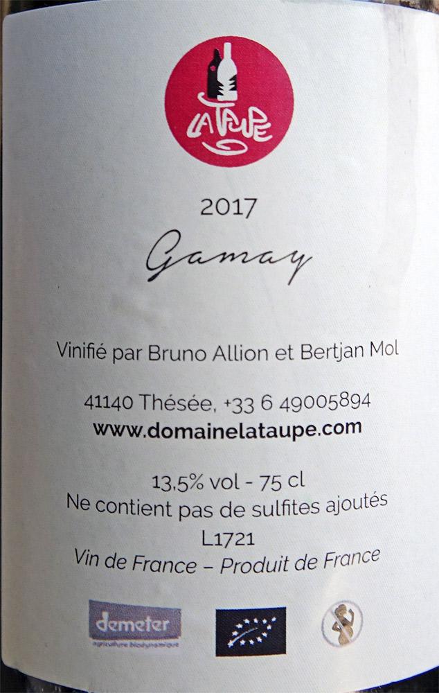 L'envers de l'étiquette du vin rouge