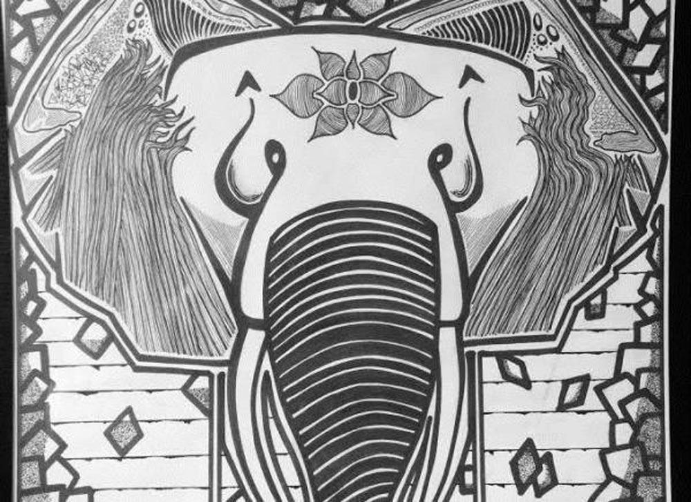 Ganesh, divinnité indienne qui aide à passer les épreuves de la vie. Dessin d'Anna Pétard