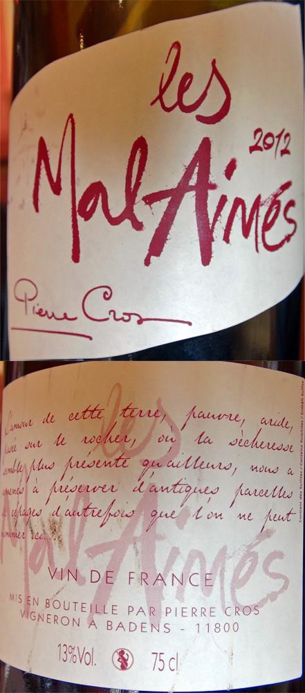"""Vin de France 2012 """"Les Mal Aimés"""" : Aramon, Alicante, Piquepoul Noir et Carignan"""