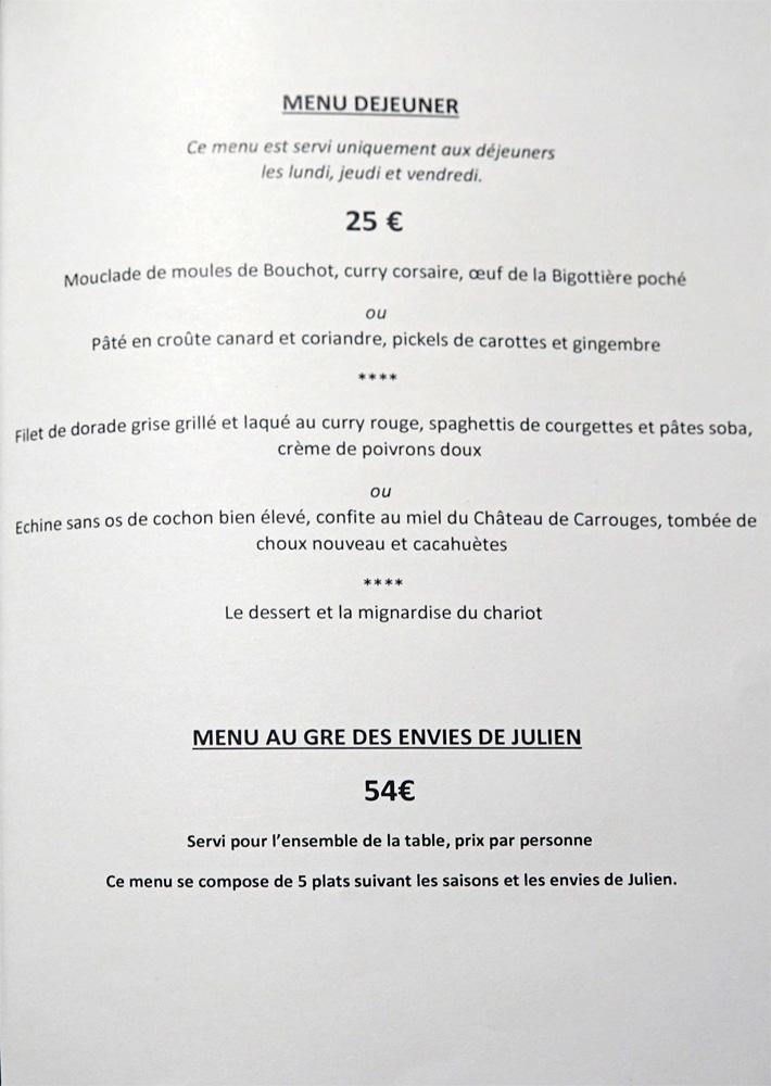 Menus Déjeuner et Au gré des envies de Julien