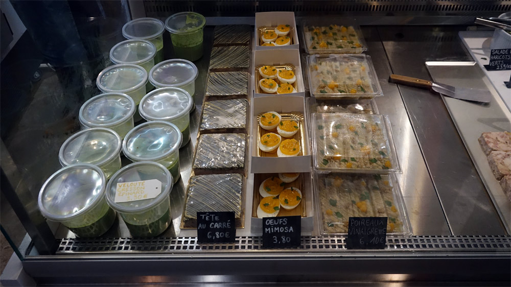 Velouté cresson/épinards - Tête au carré - Œufs mimosa - Poireaux vinaigrettes