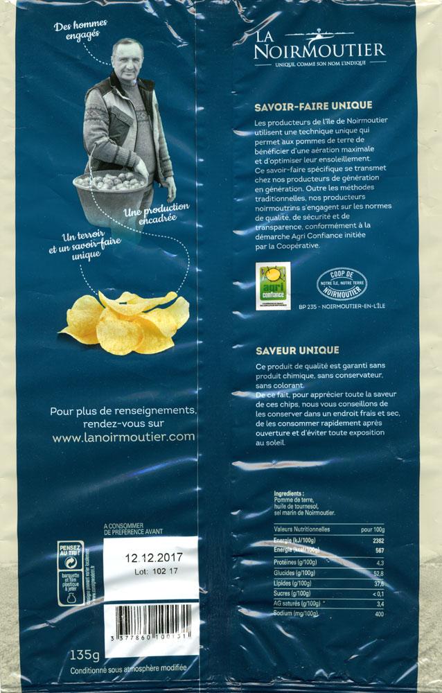 L'emballage (verso) avec les ingrédients