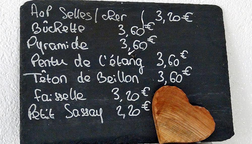 Les fromages disponibles et leurs prix