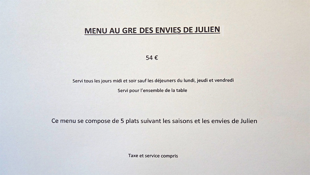 Menu Au gré des envies de Julien
