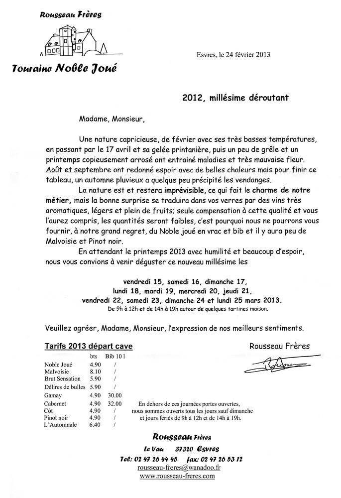 Info 2013 sur le millésime 2012