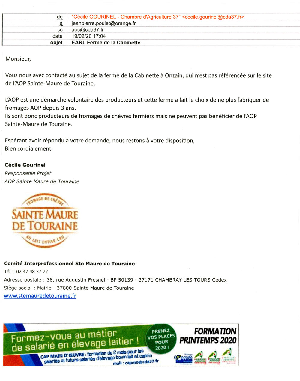 Lettre AOP Sainte-Maure de Touraine