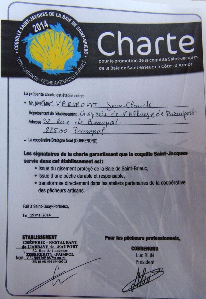 """La charte du """"crêpier"""""""