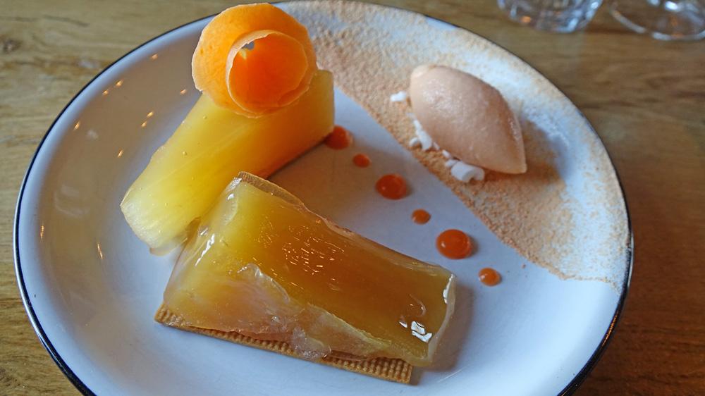 Pressé de pomme au four « Clarins », sorbet carotte, pomme et gingembre