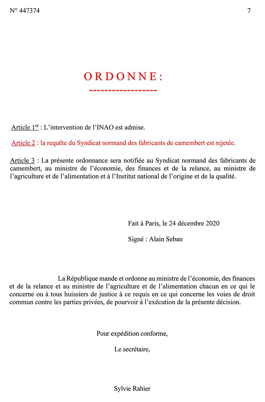 Ordonnance du Conseil d'état page 7