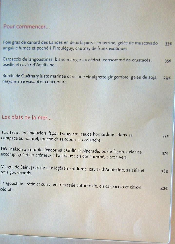 La carte : entrées et plats de la mer