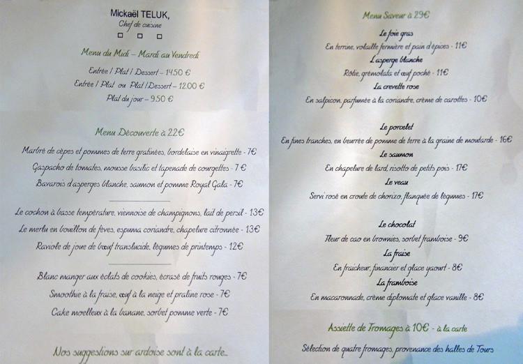Les menus à 22 & 29 € 00