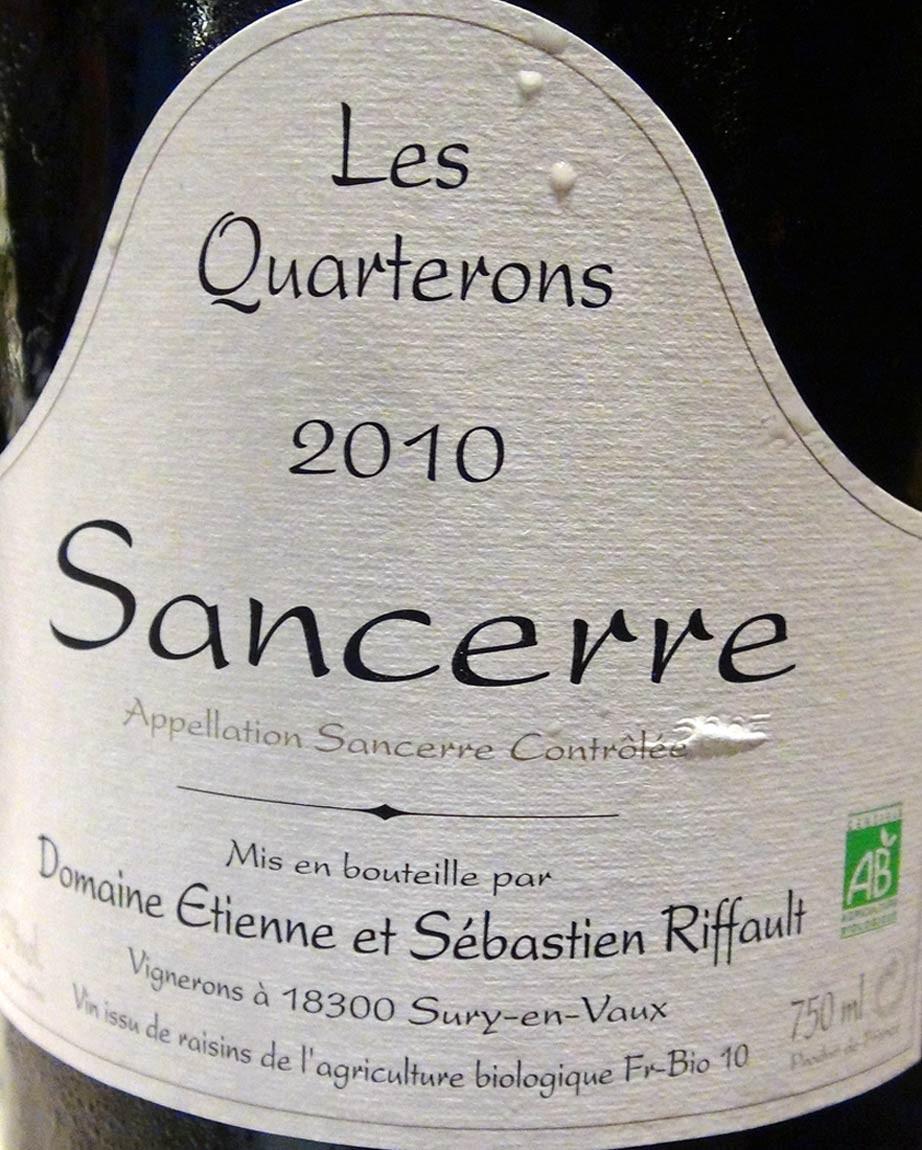 """Sancerre 2010 """"Les Quarterons"""" d'Etienne & Sébastien Riffault"""