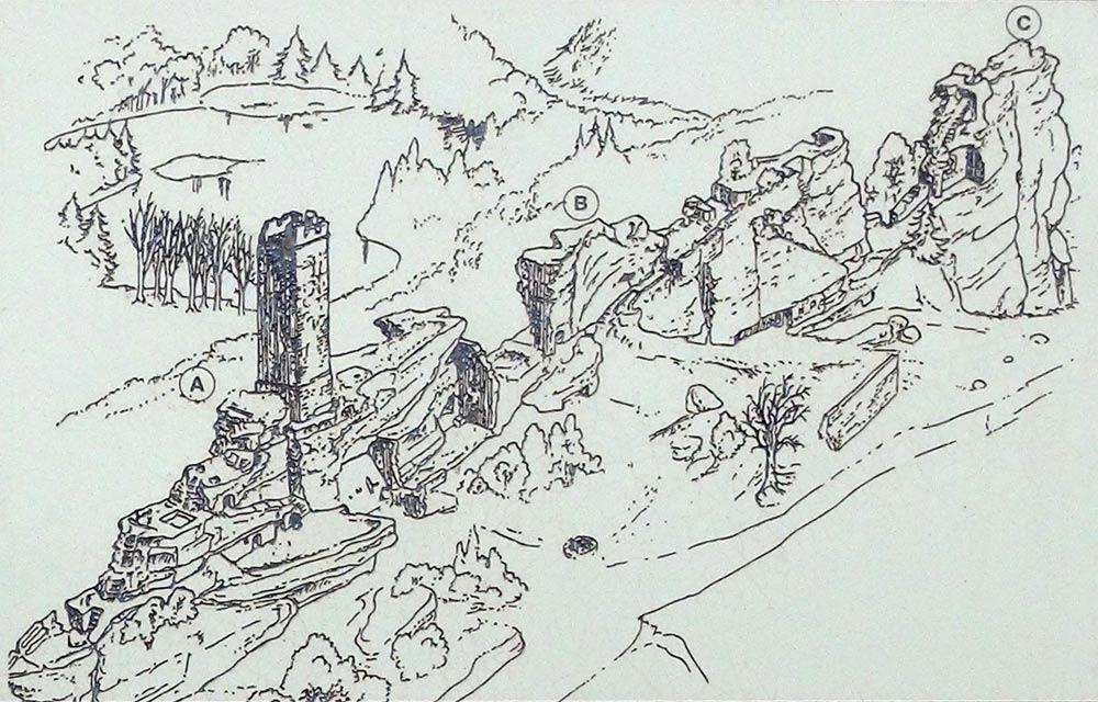 Le plan du château après les attaques et destructions