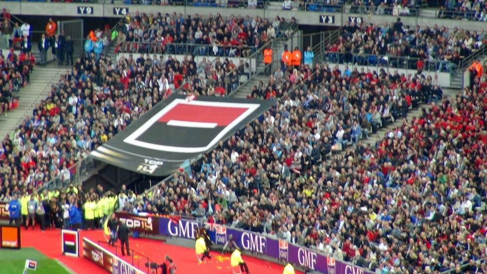 La tribune sud et les supporters toulonnais