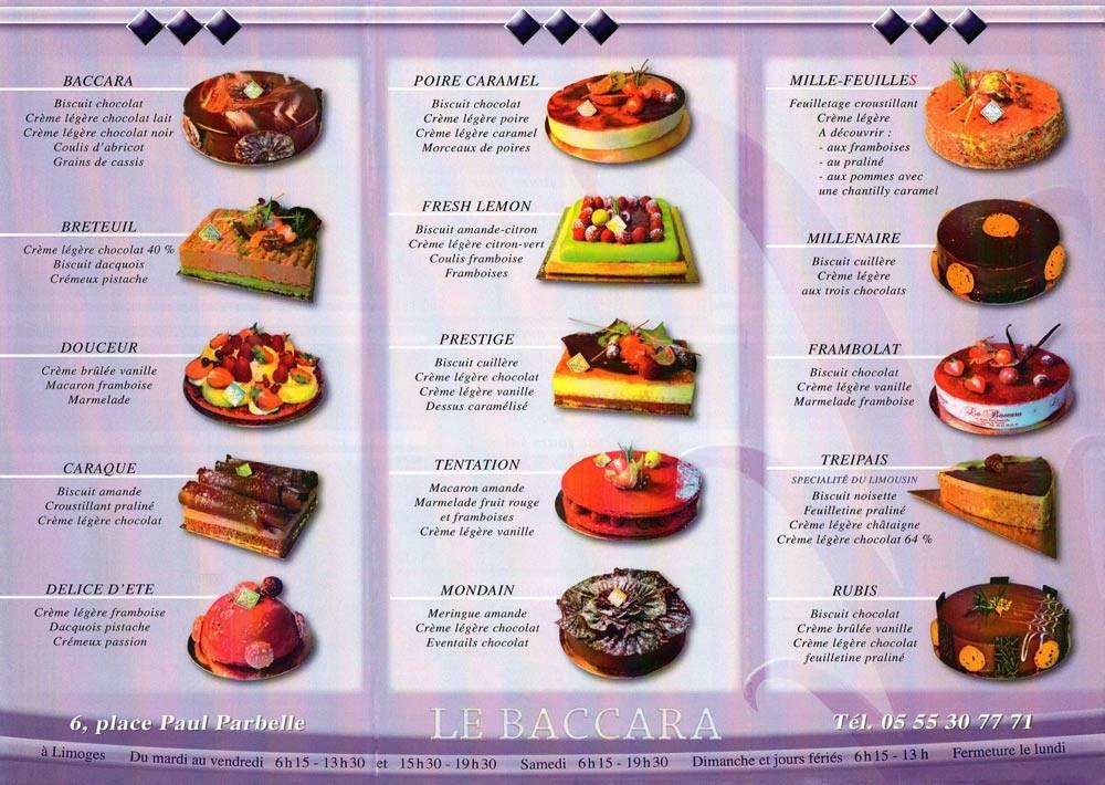 Description des tartes et glaces disponibles