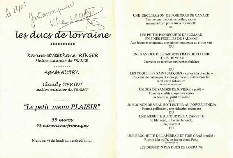 """Le menu """"Plaisir"""" à 39 € 00"""