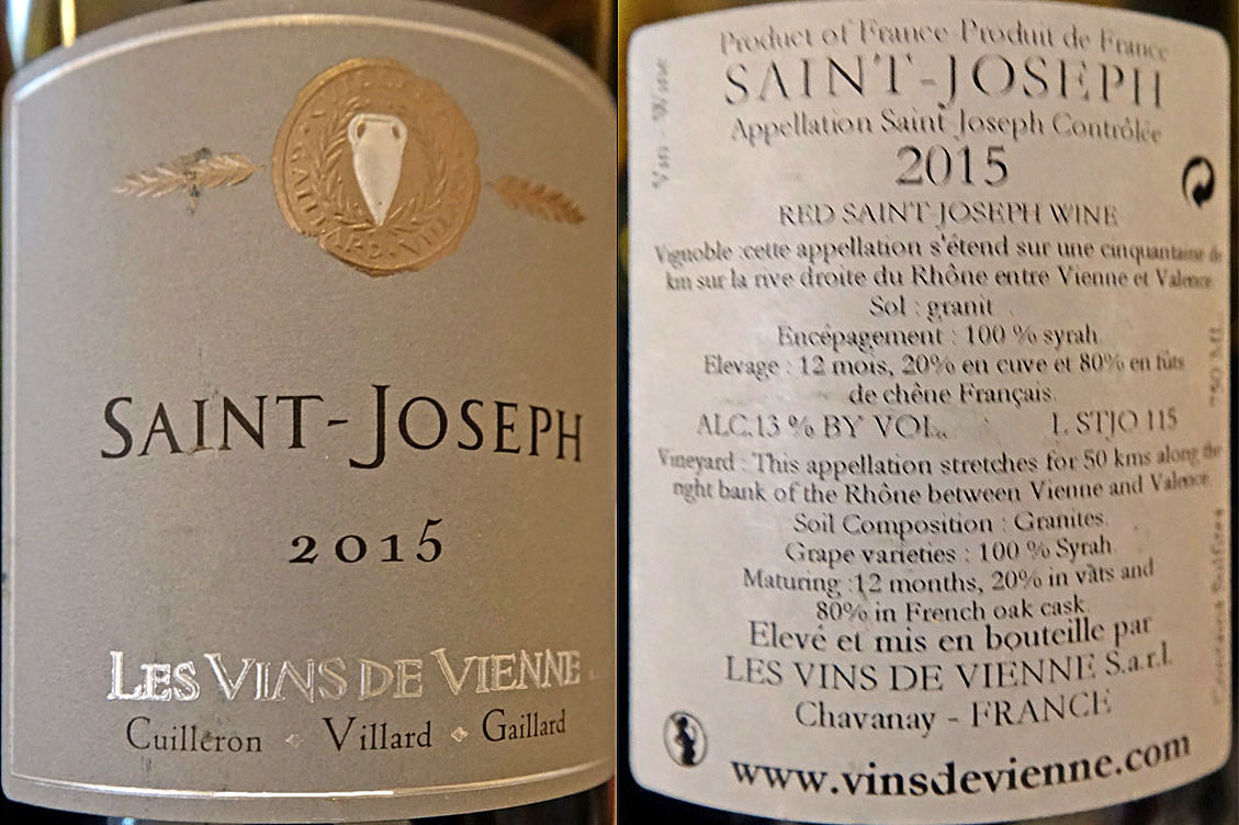 Saint-Joseph rouge 2015 Les vins de Vienne