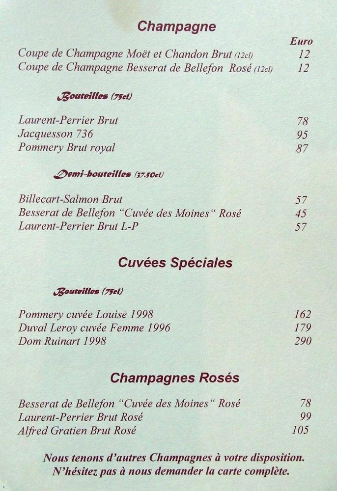 La carte des Champagnes