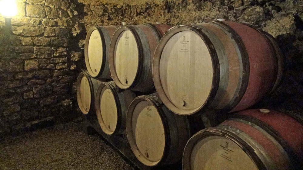 Fûts de vins en cours d'élevage