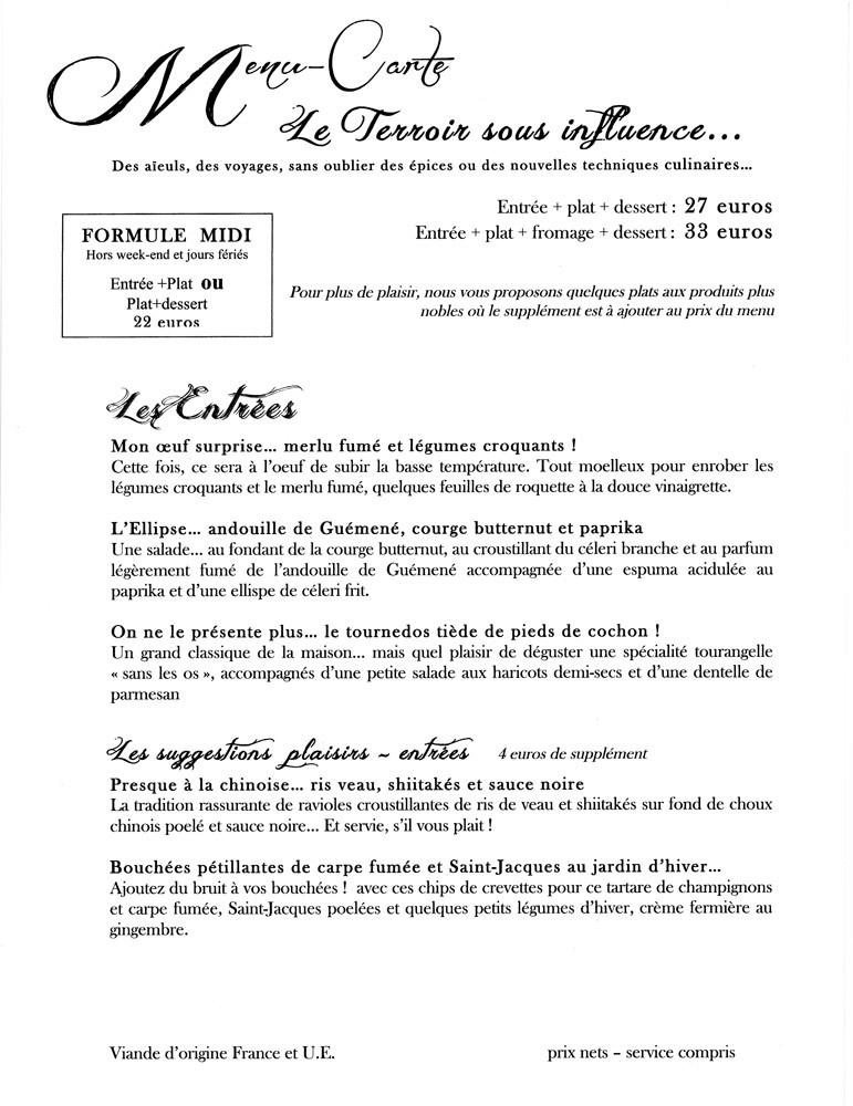 Le menu/carte (les entrées)